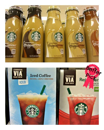 Healthy Grocery Swaps - starbucks bottle frappuccino vs via iced coffee (stronglikemycoffee.com)