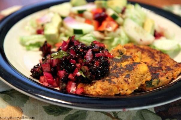 Sweet Potato Quinoa Cakes with Blackberry Salsa recipe