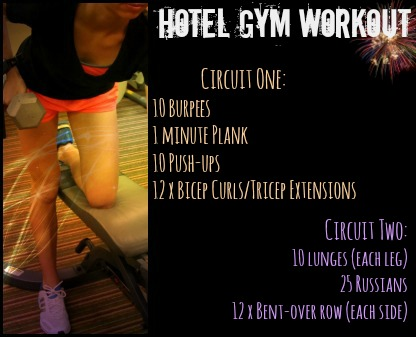 Hotel Gym Workout, easy for on the go, at home or in your dorm (stronglikemycoffee.com)