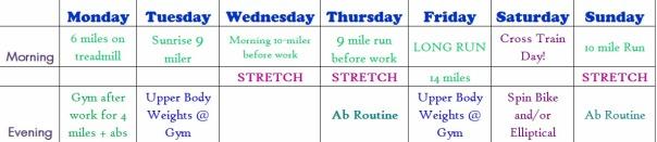 Summer training schedule July 8