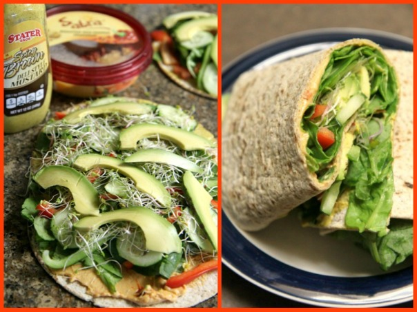 Veggie and hummus wrap! Healthy packed lunch for work (stronglikemycoffee.com)