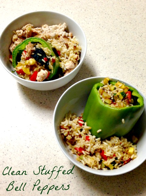 Clean Stuffed Bell Peppers with ground turkey and brown rice (stronglikemycoffee.com)
