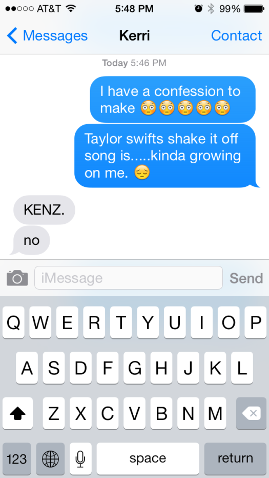Shake it off by taylor swift iphone message