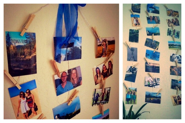 Clothespin picture display (stronglikemycoffee.com)