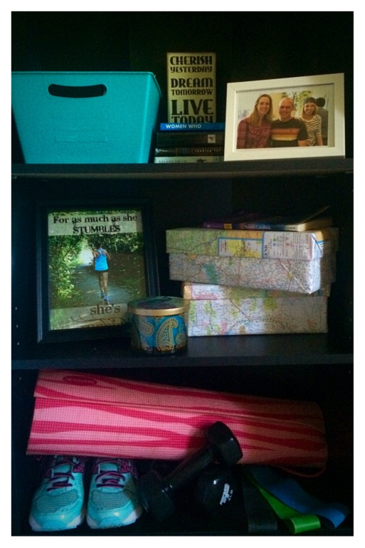 Map-covered boxes and exercise shelf (stronglikemycoffee.com)