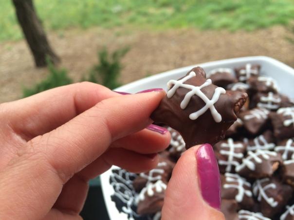 Mini Football Pretzels Tailgate Party Snacks (stronglikemycoffee.com)