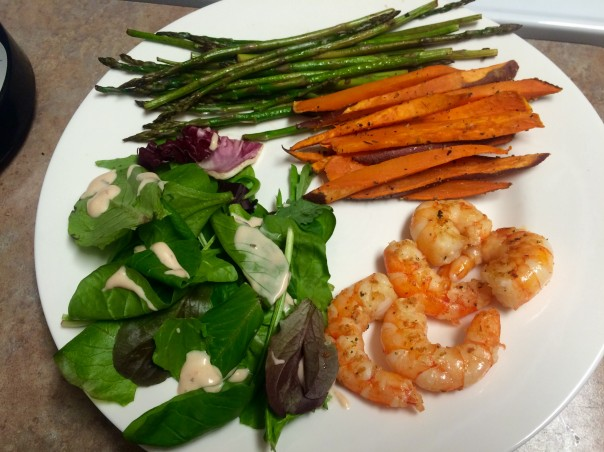 Lean Clean Dinner with shrimp, sweet potato and greens (stronglikemycoffee.com)