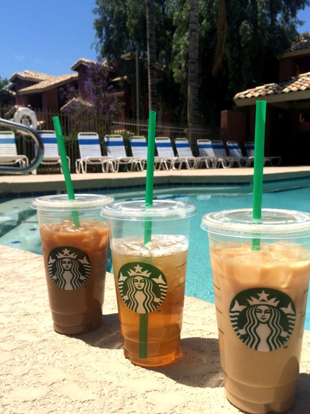 3 iced coffees poolside  Stronglikemycoffee.com