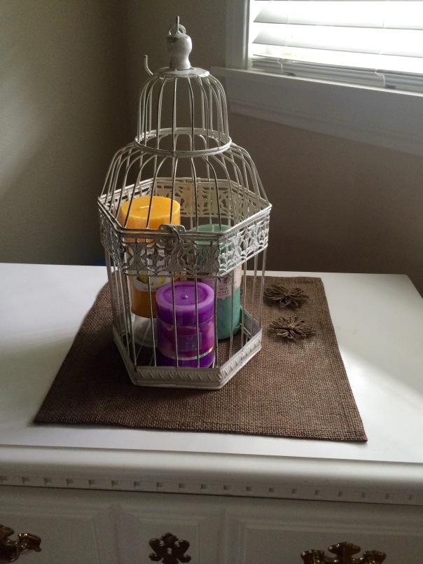 Birdcage decoration candle centerpiece | Stronglikemycoffee.com