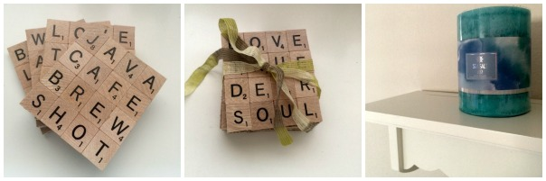 Scrabble Letter Coasters and Candle  Stronglikemycoffee.com