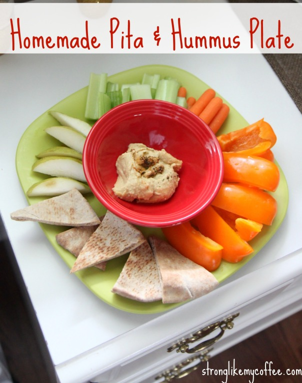 Homemade Pita and Hummus Plate  Healthy Snacks on the Blog  Stronglikemycoffee.com