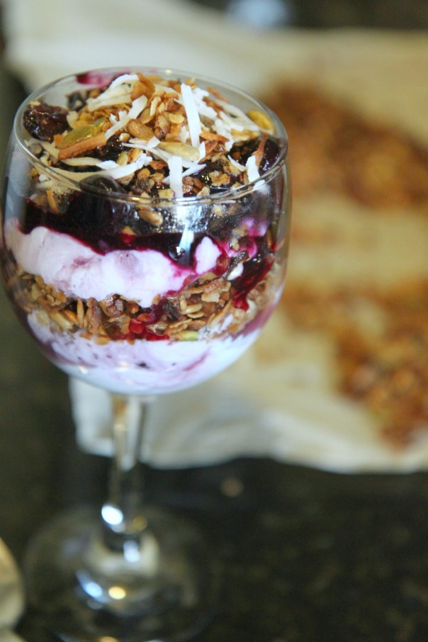 Toasted Coconut Granola Parfait with Blueberry Sauce Stronglikemycoffee.com